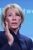 Washington, DC - June 11, 2019: U.S. Education Secretary Betsy DeVos speaks during The Wall Street Journal's CFO meeting in Washington D.C. June 11, 2019.  (Photo by Lenin Nolly/Media Images International)