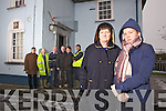 Concerned residents Kathleen Connolly and Katie Walsh from Brosna Village pictured on Wednesday outside the local Garda Station which is due to close at the end of January, also pictured l-r: Terry Fay, Pat Dillane, David Horan, Mike Walsh, Timmy Walsh and Mike Brosnan.