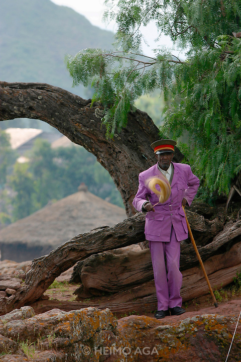 LALIBELA, WELO/ETHIOPIA..A Guard at the famous rock-hewn churches, result of a delirious phantasy of King Lalibela, who had fallen into a coma due to a failed poisoning attack..(Photo by Heimo Aga)