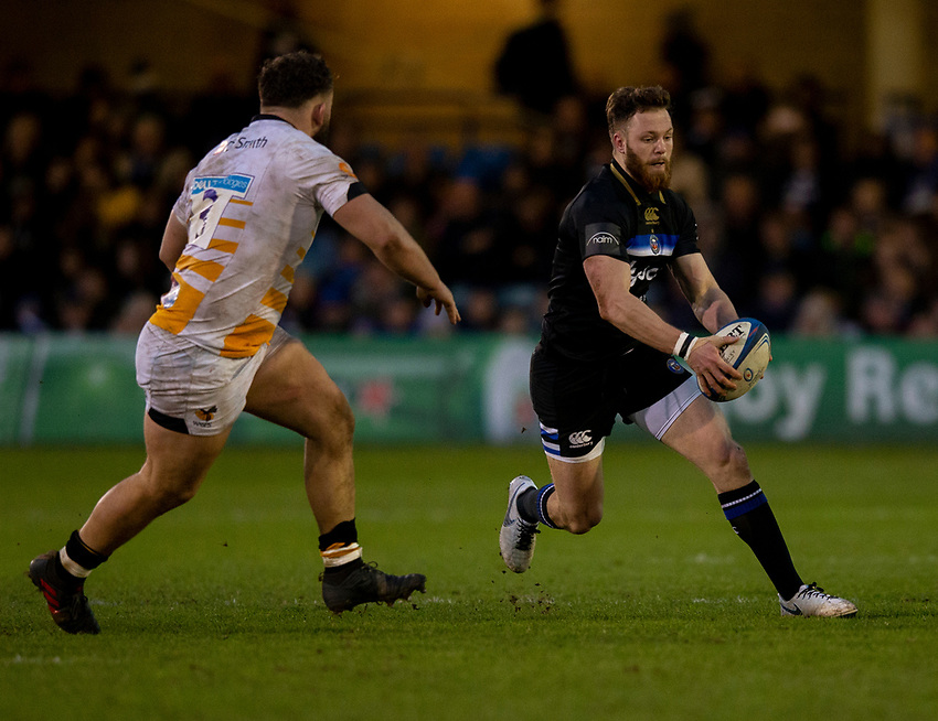 Bath Rugby's Max Wright <br /> <br /> Photographer Bob Bradford/CameraSport<br /> <br /> European Rugby Heineken Champions Cup Pool 1 - Bath Rugby v Wasps - Saturday 12th January 2019 - The Recreation Ground - Bath<br /> <br /> World Copyright © 2019 CameraSport. All rights reserved. 43 Linden Ave. Countesthorpe. Leicester. England. LE8 5PG - Tel: +44 (0) 116 277 4147 - admin@camerasport.com - www.camerasport.com