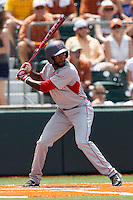 Houston Cougars outfielder Ashford Fulmer (23) at bat during the NCAA Super Regional baseball game against the Texas Longhorns on June 7, 2014 at UFCU Disch–Falk Field in Austin, Texas. The Longhorns are headed to the College World Series after they defeated the Cougars 4-0 in Game 2 of the NCAA Super Regional. (Andrew Woolley/Four Seam Images)