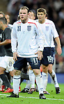 Wayne Rooney and Steven Gerrard of England during the Friendly International match at Wembley Stadium, London. Picture date 28th May 2008. Picture credit should read: Simon Bellis/Sportimage