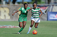 8 November 2015:  Marshall Forward Sydney Arnold (9) and North Texas Forward Amber Haggerty (12) battle for the ball in the first half as the Marshall University Thundering Herd faced the University of North Texas Mean Green in the Conference USA championship game at University Park Stadium in Miami, Florida.
