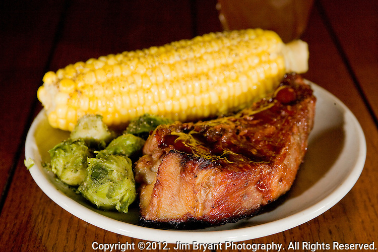 Grilled Pork ribs, with steamed corn and Brussel Sprouts. ©2012 Jim Bryant Photo. All Rights Reserved.