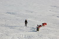 Robert Sorlie calls his dogs over towards the trail on the Yukon River. Photo by Jon Little.