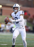 College Park, MD - November 25, 2017: Penn State Nittany Lions quarterback Trace McSorley (9) throws a touchdown pass during game between Penn St and Maryland at  Capital One Field at Maryland Stadium in College Park, MD.  (Photo by Elliott Brown/Media Images International)