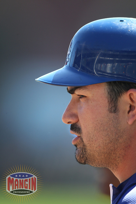 SAN FRANCISCO - SEPTEMBER 8:  Adrian Gonzalez of the Los Angeles Dodgers takes batting practice before the game against the San Francisco Giants at AT&T Park on September 8, 2012 in San Francisco, California. (Photo by Brad Mangin)