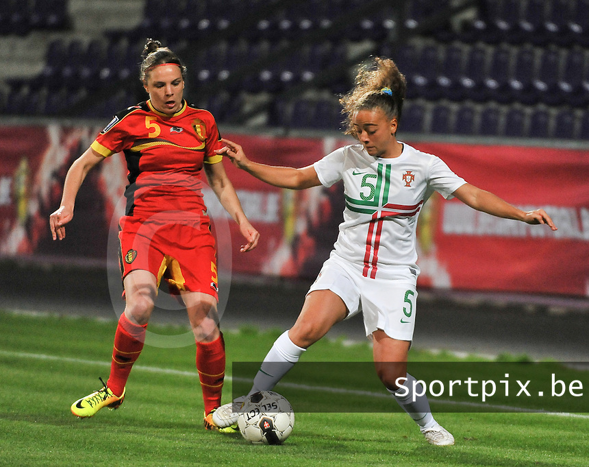 20131031 - ANTWERPEN , BELGIUM : Belgian Lorca Van De Putte (left) pictured with Portugese Matilde Fidalgo (right) during the female soccer match between Belgium and Portugal , on the fourth matchday in group 5 of the UEFA qualifying round to the FIFA Women World Cup in Canada 2015 at Het Kiel stadium , Antwerp . Thursday 31st October 2013. PHOTO DAVID CATRY