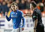 Dundee United v St Johnstone...12.03.14    SPFL<br /> Stevie May gestures that he couldn't hear the whistle<br /> Picture by Graeme Hart.<br /> Copyright Perthshire Picture Agency<br /> Tel: 01738 623350  Mobile: 07990 594431