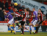 Leon Clarke of Sheffield Utd heads the ball across the box during the Championship match at Bramall Lane Stadium, Sheffield. Picture date 30th December 2017. Picture credit should read: Simon Bellis/Sportimage