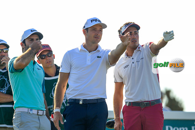 Joel Stalter (FRA), Julien Quesne (FRA), Carlos Pigem (ESP) on the 18th during the 1st round of the 2017 Portugal Masters, Dom Pedro Victoria Golf Course, Vilamoura, Portugal. 21/09/2017<br /> Picture: Fran Caffrey / Golffile<br /> <br /> All photo usage must carry mandatory copyright credit (&copy; Golffile | Fran Caffrey)