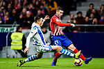 Lucas Hernandez of Atletico de Madrid (R) fights for the ball with Andoni Gorosabel of Real Sociedad (L) during the La Liga 2018-19 match between Atletico de Madrid and Real Sociedad at Wanda Metropolitano on October 27 2018 in Madrid, Spain.  Photo by Diego Souto / Power Sport Images