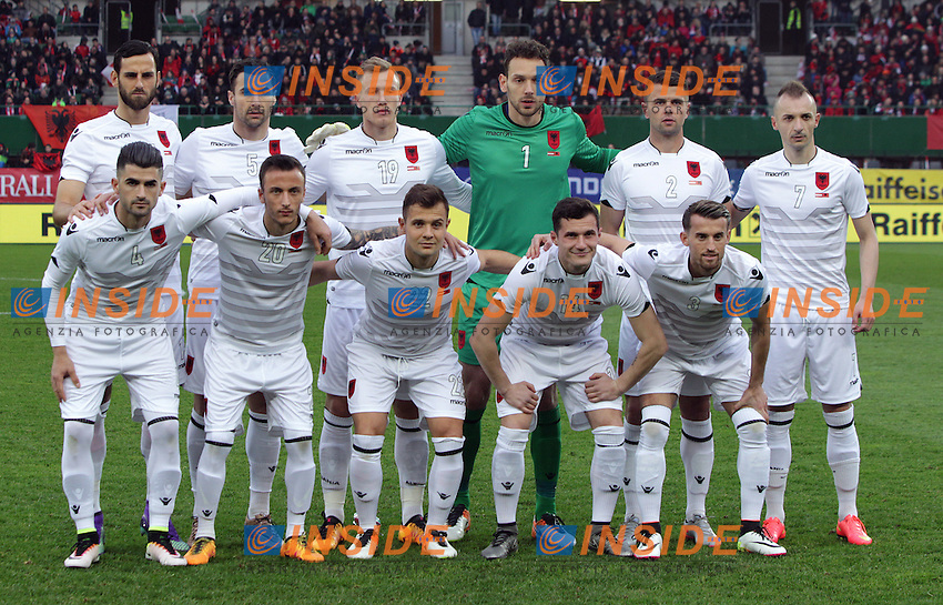 Formazione ALBANIA <br /> EQUIPE TEAM ALBANIE - SOCCER - OEFB international match, Austria vs Albania, friendly match. Image shows the team from Albania, in back row: Mergim Mavraj, Lorik Cana, Bekim Balaj, Etrit Berisha, Andi Lila and Ansi Agolli; in front row: Elseid Hysaj, Ergys Kace, Amir Abrashi, Taulant Xhaka and Ermir Lenjani (ALB).  <br /> Foto Insidefoto