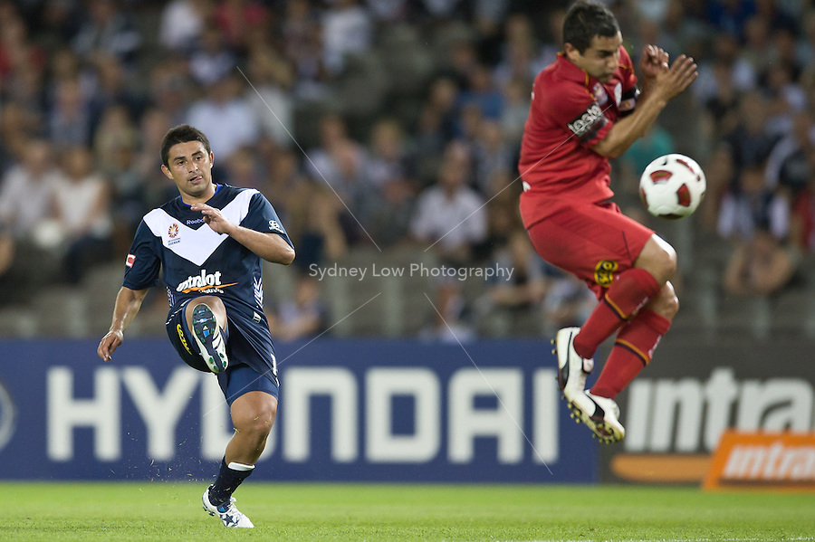 MELBOURNE, AUSTRALIA - OCTOBER 30: Carlos Hernandez of the Victory kicks the ball during the round 12 A-League match between the Melbourne Victory and Adelaide United at Etihad Stadium on October 30, 2010 in Melbourne, Australia.  (Photo by Sydney Low / Asterisk Images)