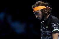 15th November 2019; 02 Arena. London, England; Nitto ATP Tennis Finals; Stefanos Tsitsipas (Greece) during his match against Rafael Nadal (Spain) - Editorial Use
