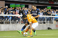 San Jose, CA - Saturday September 16, 2017: Marco Ureña, A.J. DeLaGarza during a Major League Soccer (MLS) match between the San Jose Earthquakes and the Houston Dynamo at Avaya Stadium.