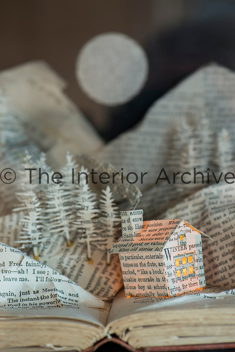 Detail of a paper sculpture created from a book