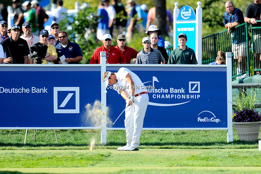 September 3, 2012 Jeff Overton of the United States tees off on the 16th hole while playing in the championship round of the Deutsche Bank Championship tournament held at The Tournament Players Club, in Norton, Massachusetts.  Eric Canha/CSM