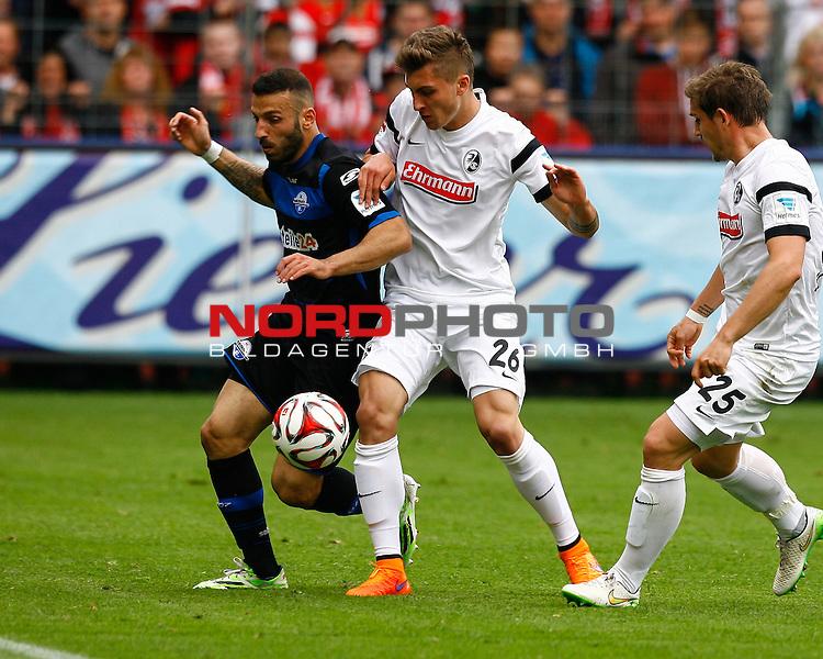 Sueleyman KOC, SC Paderborn - Maximilian PHILIPP, SCF, Aktion quer, Fu&szlig;ball 1.BL Saison 2014/2015<br /> <br /> Foto &copy; nordphoto /  H.Konkel