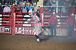 Bullfighter during second round of the Fort Worth Stockyards Pro Rodeo event in Fort Worth, TX - 8.3.2019 Photo by Christopher Thompson