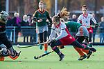 TILBURG  - hockey-  Lenna Omrani (MOP) stuit op Keeper Puck van den Blink (WereDi) tijdens de wedstrijd Were Di-MOP (1-1) in de promotieklasse hockey dames. COPYRIGHT KOEN SUYK