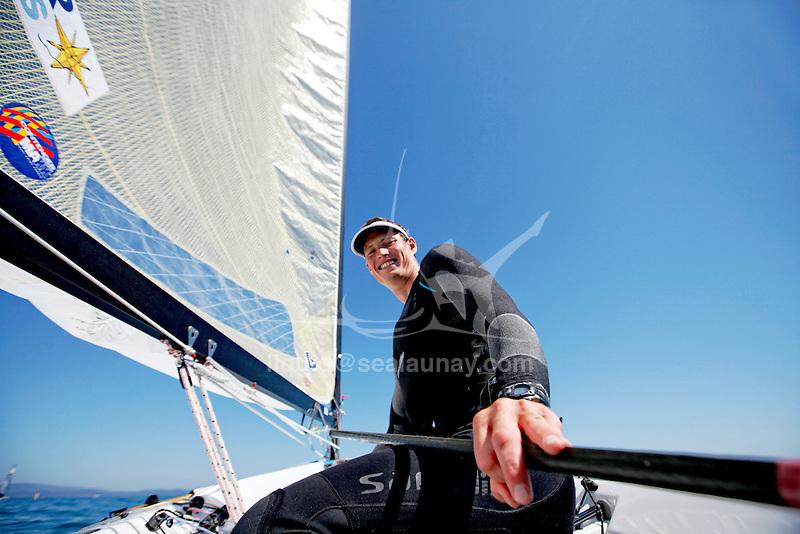 ISAF Sailing World Cup Hyères - Fédération Française de Voile. Finn, Jonathan Lobert.