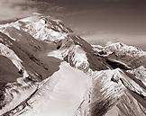 USA, Alaska, snowcapped Mount McKinley and the Denali range (B&W)
