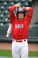 Catcher Jordan Procyshen (17) of the Greenville Drive during a Media Day first workout of the season on Tuesday, April 7, 2015, at Fluor Field at the West End in Greenville, South Carolina. (Tom Priddy/Four Seam Images)