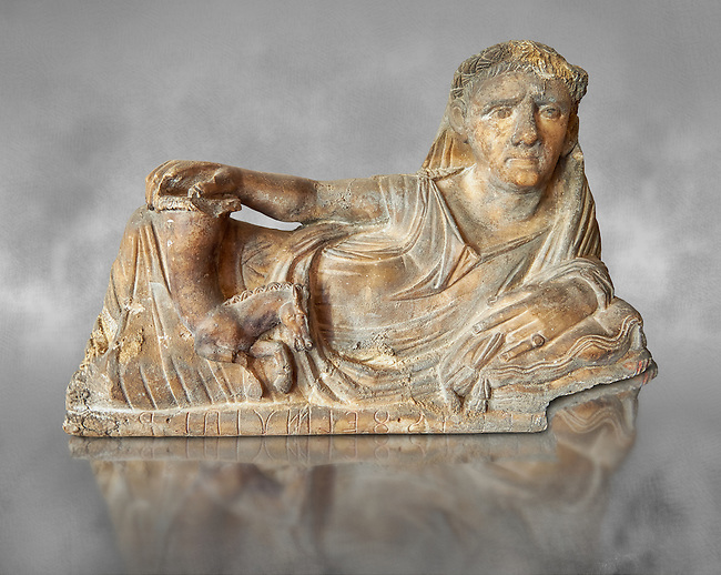 Etruscan Hellenistic style cinerary, funreary, urn  cover,  National Archaeological Museum Florence, Italy , grey art background