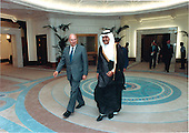United States Secretary of Defense Dick Cheney in the Royal Palace of Qatar accompanied by His Royal Highness, the Crown Prince, Hamid bin Khalifa Al-Thani.  Secretary Cheney, the highest level United States official to visit the country up to that time, was in Qatar on August 20, 1990 to discuss the crisis in the Persian Gulf resulting from the August 2, 1990 invasion of Kuwait by the military forces of Iraq.<br /> Mandatory Credit: Robert D. Ward - DoD via CNP