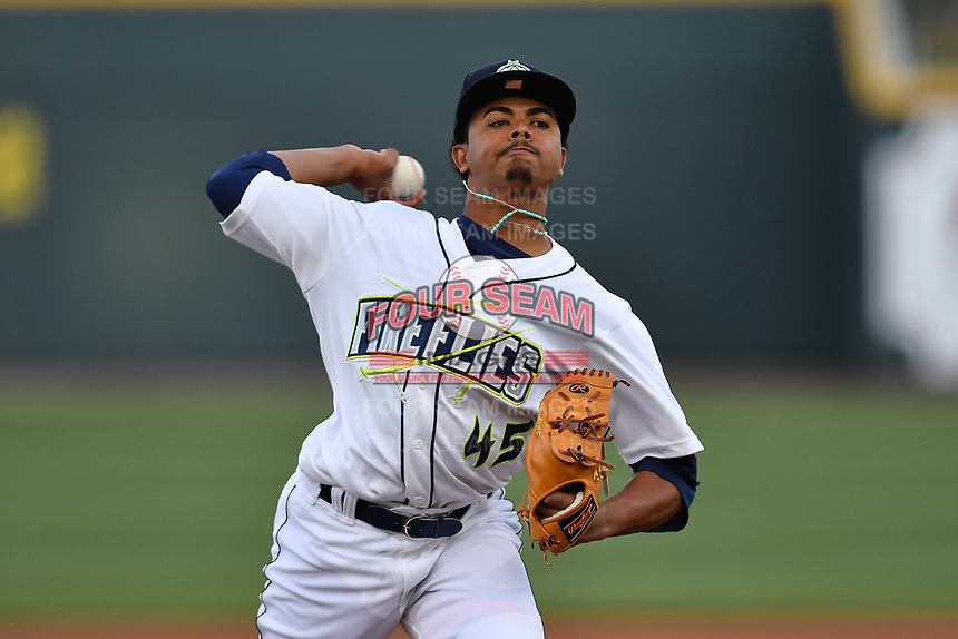 Pitcher Harol Gonzalez (45) of the Columbia Fireflies delivers a pitch in a game against the Augusta GreenJackets on Opening Day, Thursday, April 6, 2017, at Spirit Communications Park in Columbia, South Carolina. (Tom Priddy/Four Seam Images)
