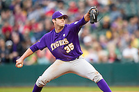 LSU Tigers pitcher Alex Lange (35) delivers a pitch to the plate during the NCAA baseball game against the Baylor Bears on March 7, 2015 in the Houston College Classic at Minute Maid Park in Houston, Texas. LSU defeated Baylor 2-0. (Andrew Woolley/Four Seam Images)