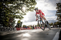 William Blume Levy (DEN) off the start ramp (on a former Team SKY TT bike)<br /> at the Men Junior Individual Time Trial<br /> <br /> 2019 Road World Championships Yorkshire (GBR)<br /> <br /> ©kramon
