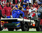 New York Giants left guard Rich Seubert (69) is carried off the field after being injured in the first quarter against the Washington Redskins at FedEx Field in Landover, Maryland on Sunday, January 2, 2011..Credit: Ron Sachs / CNP.(RESTRICTION: NO New York or New Jersey Newspapers or newspapers within a 75 mile radius of New York City)