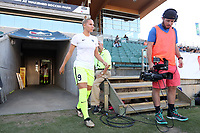 Cary, North Carolina  - Saturday August 05, 2017: Merritt Mathias prior to a regular season National Women's Soccer League (NWSL) match between the North Carolina Courage and the Seattle Reign FC at Sahlen's Stadium at WakeMed Soccer Park. The Courage won the game 1-0.
