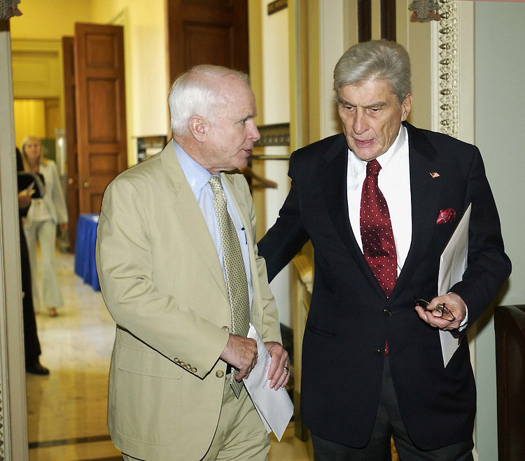 7/6/04.POLICY LUNCHEONS--Sen. John McCain, R-Ariz., and Sen. John W. Warner, R-Va., after the GOP policy luncheon..CONGRESSIONAL QUARTERLY PHOTO BY SCOTT J. FERRELL