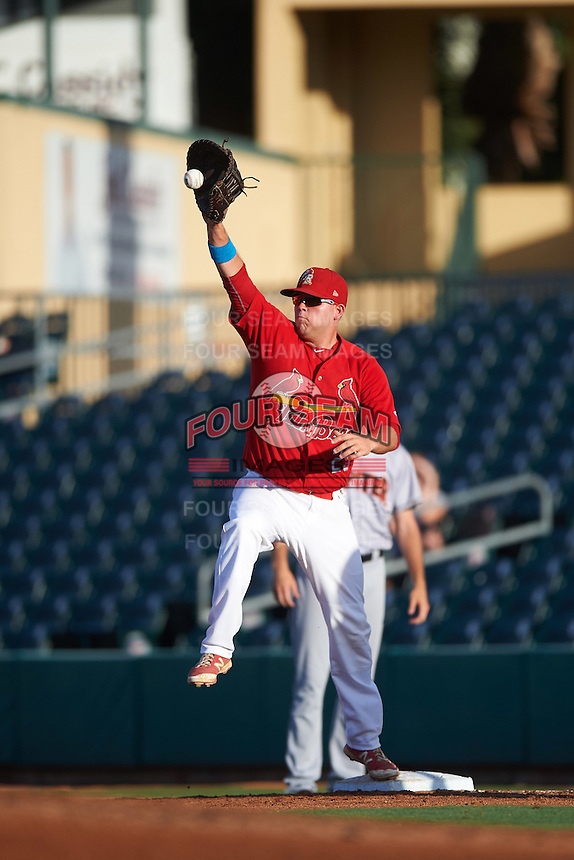Palm Beach Cardinals first baseman Casey Grayson (29) stretches for a throw during a game against the Jupiter Hammerheads  on August 12, 2016 at Roger Dean Stadium in Jupiter, Florida.  Jupiter defeated Palm Beach 9-0.  (Mike Janes/Four Seam Images)