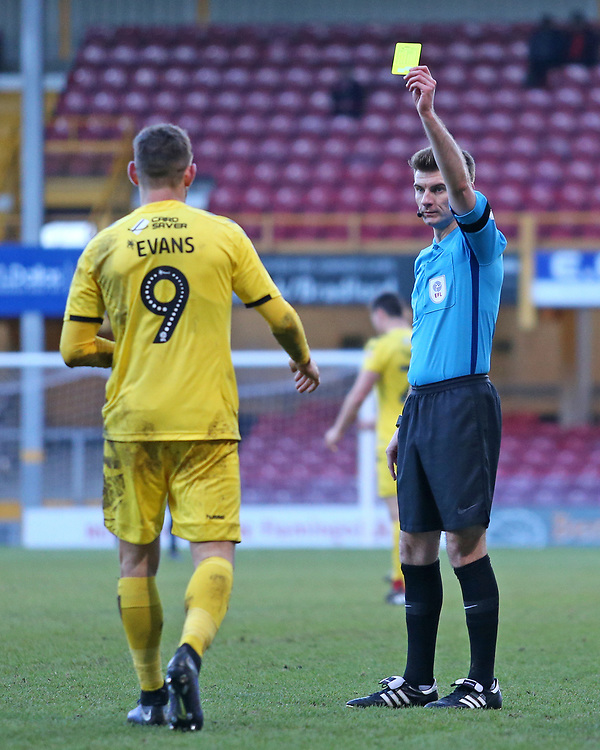 Fleetwood Town's Ched Evans is booked by Referee Ollie Yates<br /> <br /> Photographer David Shipman/CameraSport<br /> <br /> The EFL Sky Bet League One - Bradford City v Fleetwood Town - Saturday 9th February 2019 - Valley Parade - Bradford<br /> <br /> World Copyright © 2019 CameraSport. All rights reserved. 43 Linden Ave. Countesthorpe. Leicester. England. LE8 5PG - Tel: +44 (0) 116 277 4147 - admin@camerasport.com - www.camerasport.com