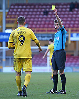 Fleetwood Town's Ched Evans is booked by Referee Ollie Yates<br /> <br /> Photographer David Shipman/CameraSport<br /> <br /> The EFL Sky Bet League One - Bradford City v Fleetwood Town - Saturday 9th February 2019 - Valley Parade - Bradford<br /> <br /> World Copyright &copy; 2019 CameraSport. All rights reserved. 43 Linden Ave. Countesthorpe. Leicester. England. LE8 5PG - Tel: +44 (0) 116 277 4147 - admin@camerasport.com - www.camerasport.com