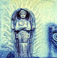 Painterly photograph of an architectural motive depicting an angel. This photograph was taken with SX-70 Polaroid camera and enhanced by hand when the emulsion was still soft.