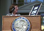 Pam Robinson, Chief of Staff of Lt. Gov. Brian Krolicki, speaks at the USS Nevada Centennial of Launch ceremony at the Capitol, in Carson City, Nev., on Friday, July 11, 2014.<br /> Photo by Cathleen Allison