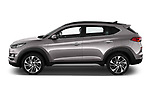 Car driver side profile view of a 2019 Hyundai Tucson Shine 5 Door SUV
