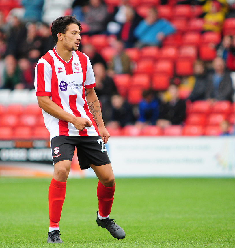 Lincoln City's Macauley Bonne<br /> <br /> Photographer Andrew Vaughan/CameraSport<br /> <br /> Vanarama National League - Lincoln City v Barrow - Saturday 17 September 2016 - Sincil Bank - Lincoln<br /> <br /> World Copyright &copy; 2016 CameraSport. All rights reserved. 43 Linden Ave. Countesthorpe. Leicester. England. LE8 5PG - Tel: +44 (0) 116 277 4147 - admin@camerasport.com - www.camerasport.com