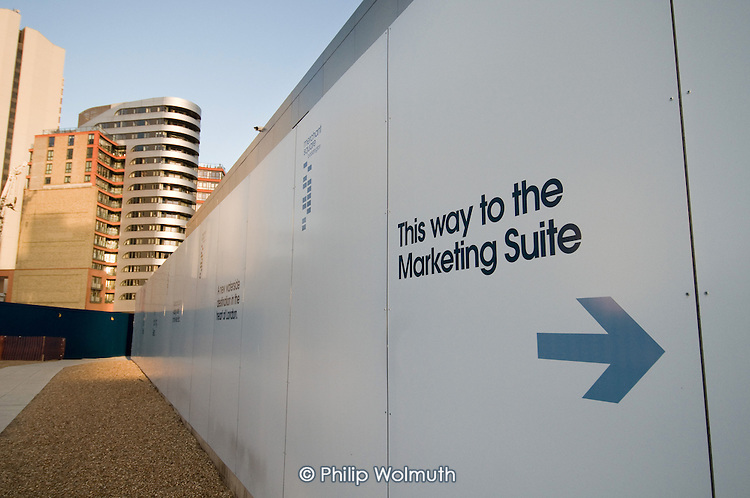 Sign to the marketing suite for Market Square, part of the Paddington Waterside development at Paddington Basin.