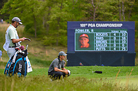 Jordan Spieth (USA) looks over his chip on 5 during round 4 of the 2019 PGA Championship, Bethpage Black Golf Course, New York, New York,  USA. 5/19/2019.<br /> Picture: Golffile | Ken Murray<br /> <br /> <br /> All photo usage must carry mandatory copyright credit (© Golffile | Ken Murray)