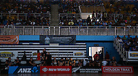 22.01.2015 Silver Ferns wait for the lights to come on prior to the netball test match between the Silver Ferns and Fiji at the Vodafone Arena in Suva Fiji. Mandatory Photo Credit ©Michael Bradley.