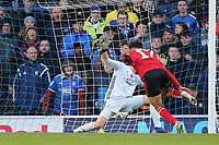 Tyler Walker of Lincoln City scores the first goal past Will Norris of Ipswich Town during Ipswich Town vs Lincoln City, Emirates FA Cup Football at Portman Road on 9th November 2019