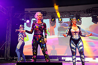 LONDON, ENGLAND - JUNE 3: Robin Pors, Denise Post-Van Rijswijk and Kim Sasabone of 'Vengaboys' performing at Mighty Hoopla at Brockwell Park, Brixton on June 3, 2018 in London<br /> CAP/MAR<br /> &copy;MAR/Capital Pictures