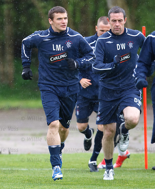 Lee McCulloch back training after his calf injury and David Weir