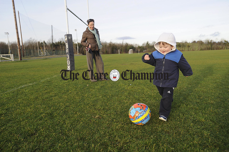 Young Dylan Darcy Devine having fun at Lees road with his mother Nicola. Photograph by John Kelly.